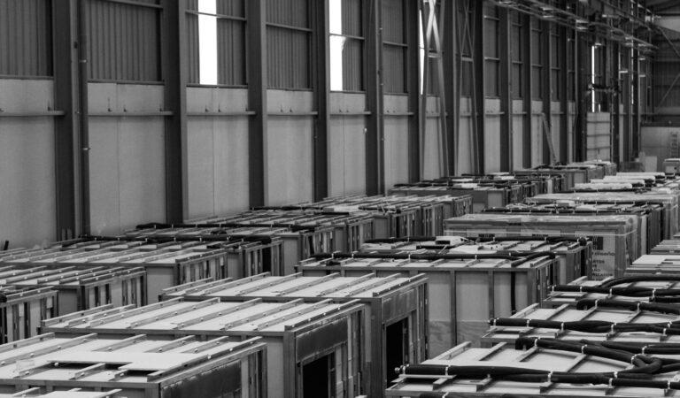 Warehouse with Cubik Steel bathroom pods